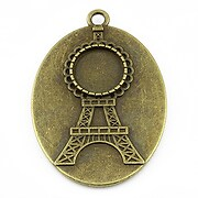 Baza cabochon turnul Eiffel bronz 46x32mm, interior 40x30mm
