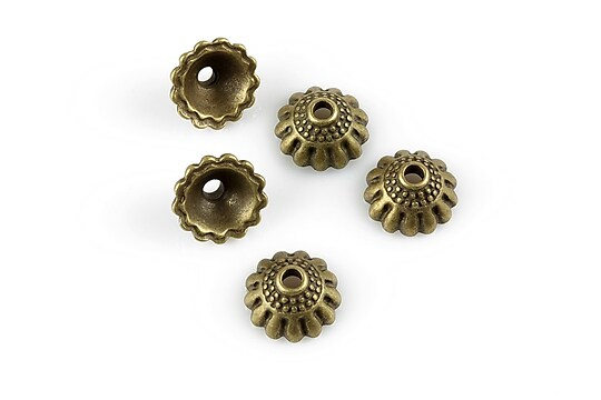 Capacele margele bronz 10,5x5,5mm