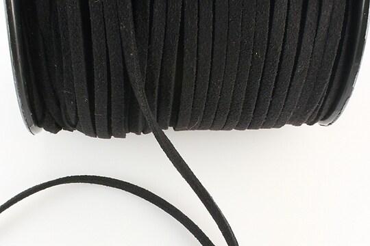 Snur suede (imitatie piele intoarsa) 3x1mm, negru (5m)