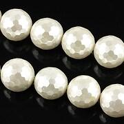 Perle tip Mallorca albe fatetate sfere 12mm
