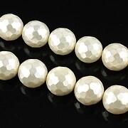 Perle tip Mallorca albe fatetate sfere 10mm