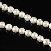 Perle tip Mallorca albe sfere fatetate 6mm