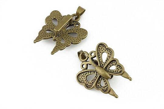 Agatatoare pandantiv bronz fluture 28x20mm