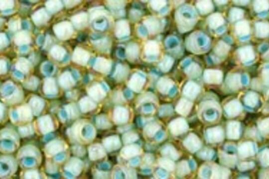 Margele Toho rotunde 11/0 - Inside-Color Rainbow Lt Topaz/Sea Foam Lined