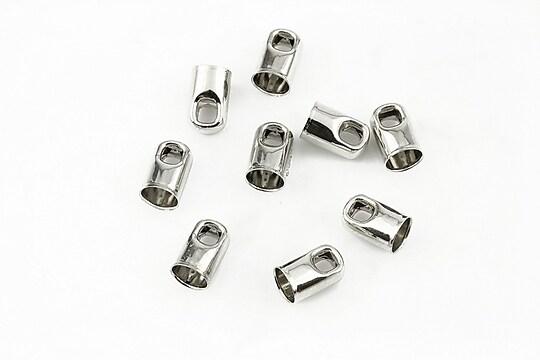 Capat snur argintiu inchis, interior 4mm (10buc.)
