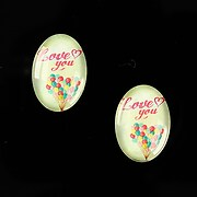 """Cabochon sticla 18x13mm """"This is love"""" cod 863"""