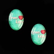 """Cabochon sticla 18x13mm """"This is love"""" cod 867"""