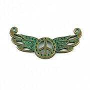Link bronz antichizat cu patina verde, simbol peace cu aripi 33x18mm