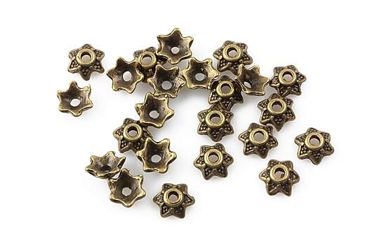 Capacele margele bronz 7mm (10 buc.)