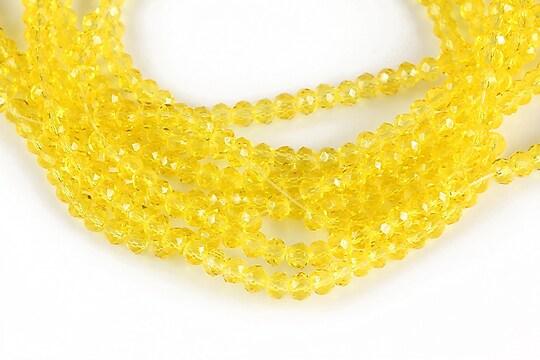 Cristale rondele 2x3mm -  galben transparent - (10 buc.)