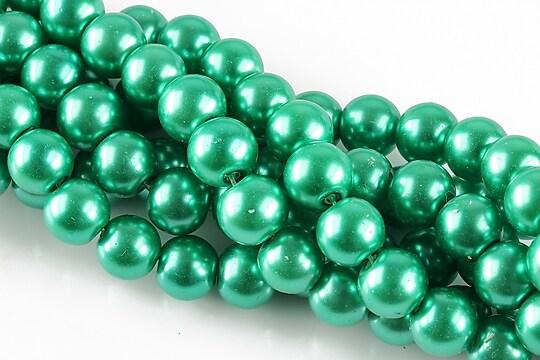 Perle de sticla, sfere 8mm - verde turcoaz (10 buc.)