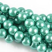 Perle de sticla, sfere 8mm - turcoaz (10 buc.)