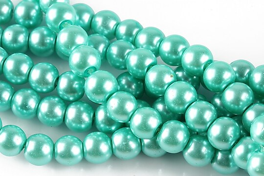 Perle de sticla, sfere 8mm - aqua (10 buc.)
