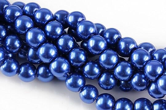 Perle de sticla, sfere 8mm - albastru safir (10 buc.)