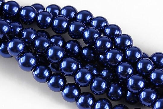 Perle de sticla, sfere 8mm - albastru cobalt (10 buc.)