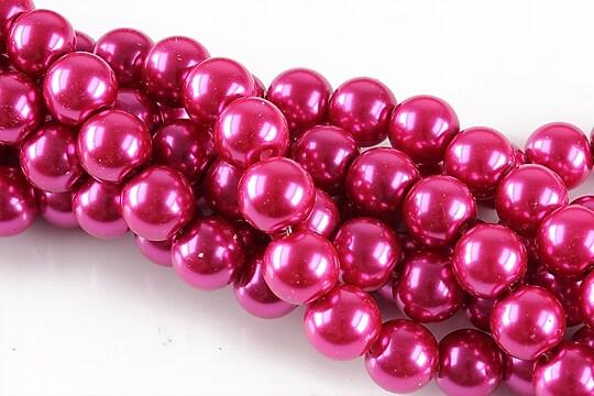 Perle de sticla, sfere 8mm - roz magenta (10 buc.)