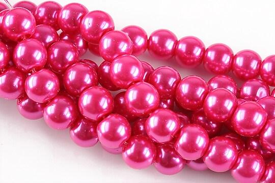 Perle de sticla, sfere 8mm - roz bonbon (10 buc.)
