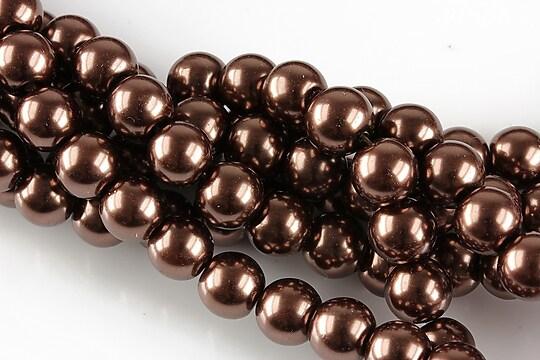 Perle de sticla, sfere 8mm - maro inchis (10 buc.)