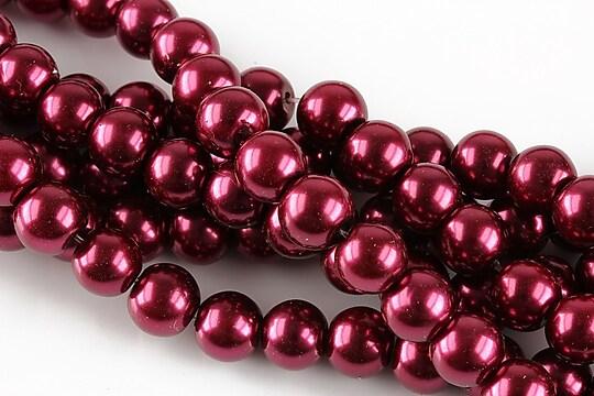 Perle de sticla, sfere 8mm - rosu burgundy (10 buc.)