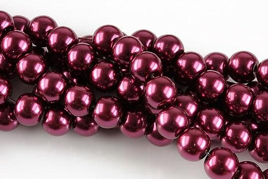 Perle de sticla, sfere 8mm - rosu vin (10 buc.)