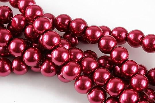 Perle de sticla, sfere 8mm - rosu crimson (10 buc.)