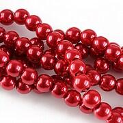 Perle de sticla, sfere 6mm - rosu inchis (10 buc.)