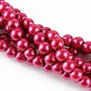 Perle de sticla, sfere 6mm - rosu crimson (10 buc.)