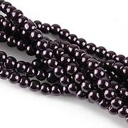 Perle de sticla, sfere 4mm - mov inchis (10 buc.)
