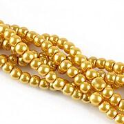 Perle de sticla, sfere 4mm - galben auriu (10 buc.)