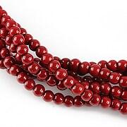 Perle de sticla, sfere 4mm - rosu inchis opac (10 buc.)