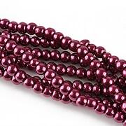 Perle de sticla, sfere 4mm - rosu vin (10 buc.)