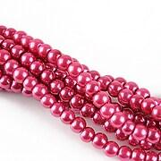 Perle de sticla, sfere 4mm - rosu crimson (10 buc.)