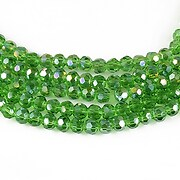 Cristale rotunde placate AB 4mm (10 buc.) - verde AB