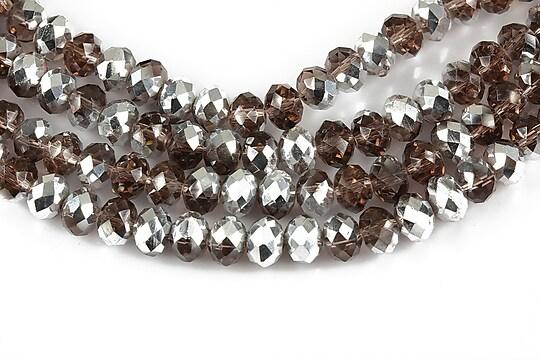Cristale rondele 4x6mm placate cu argintiu - grena deschis transparent