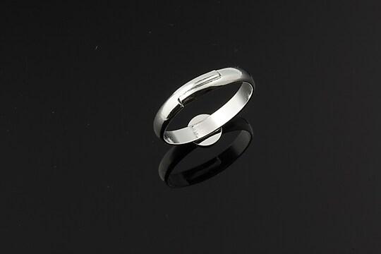 Baza de inel argintie, reglabila, platou 6mm