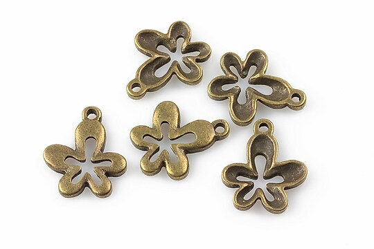 Charm bronz floare 17x15mm