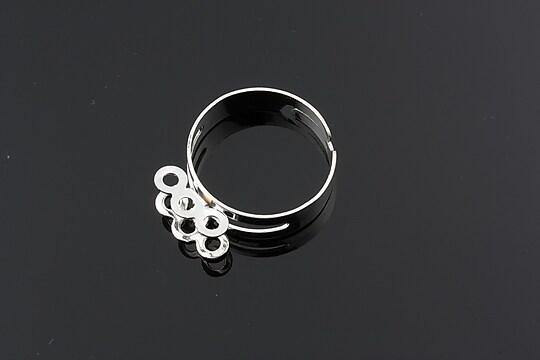 Baza de inel argintie, reglabila, cu 6 bucle