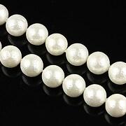 Perle tip Mallorca gofrate albe, sfere 8mm