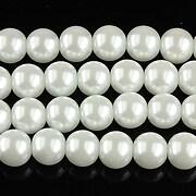 Sirag perle de sticla lucioase, sfere 8mm - alb
