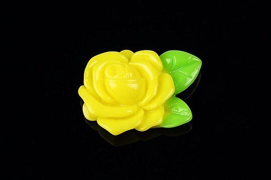 Cabochon rasina trandafir cu frunza 32x24mm - galben