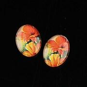 "Cabochon sticla 18x13mm ""Flowers"" cod 1117"