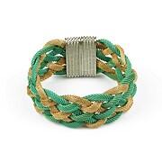 Bratara din lanturi impletite verzi si aurii cu inchizatoare cu magnet