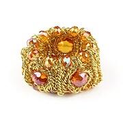 Bratara lata, din lanturi aurii si cristale orange cu reflexii AB
