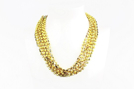 Colier cu lanturi aurii cu margelute galbene