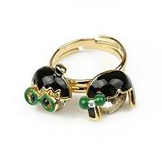 Set 2 inele aurii fetita si baiat cu funda si ochelari verzi (reglabil)