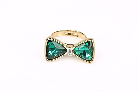 Inel funda cu cristal verde (reglabil)