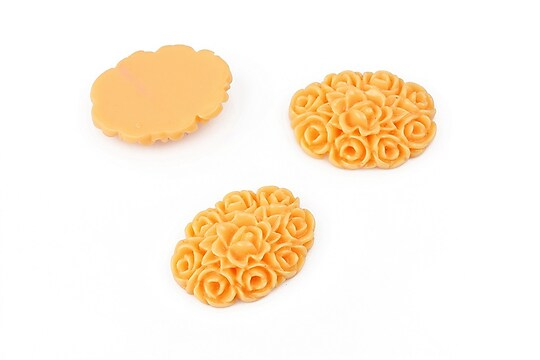 Cabochon rasina oval, buchet de flori 19x14mm - portocaliu deschis