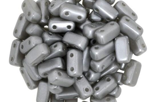 Margele CzechMates BRICKS 3X6mm - Pearl Coat - Silver