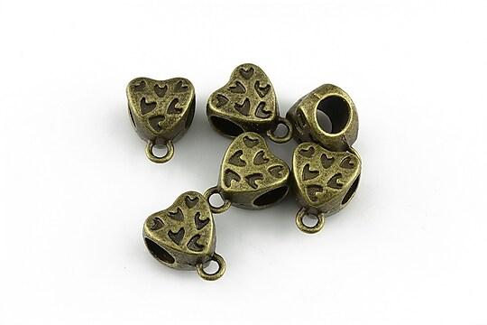 Agatatoare pandantiv inima bronz 9x12x7mm