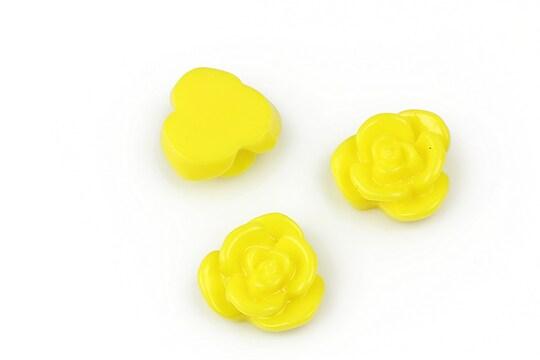 Cabochon rasina floare 15mm - galben